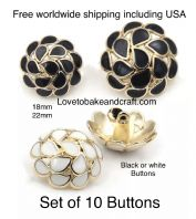 Black buttons, White enamel buttons, White buttons. Free worldwide shipping (2) (3) (4) (5) (7)